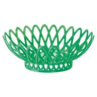 GET OB-940-FG Forest Green Oval 10 inch x 8 1/4 inch Plastic Fast Food Basket 12 / Pack