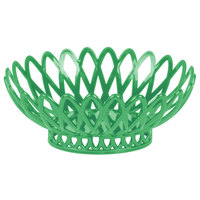 GET OB-940-FG Forest Green Oval 10 inch x 8 1/4 inch Plastic Fast Food Basket - 12/Pack