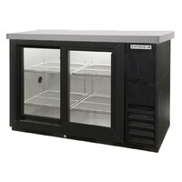 Beverage Air BB48GSY-1-B-27-PT-LED 48 inch Black Pass-Through Back Bar Refrigerator with Sliding Glass Doors and Stainless Steel Top - 115V, LED Lighting