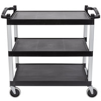 Cambro BC340KD110 Black Three Shelf Utility Cart (Unassembled) - 40 inch x 21 1/4 inch x 37 1/2 inch