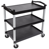 Cambro BC340KD110 Black Three Shelf Utility Cart (Unassembled) - 40 inch x 21 1/4 inch x 37 1/2 inch