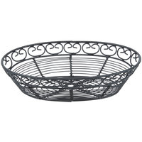 Tablecraft BK27409 Mediterranean Oval Black Metal Basket - 9 inch x 6 1/4 inch x 2 1/4 inch