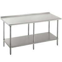 16 Gauge Advance Tabco SFG-3012 30 inch x 144 inch Stainless Steel Commercial Work Table with Undershelf and 1 1/2 inch Backsplash