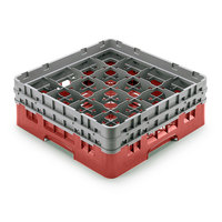Cambro 16S958163 Camrack Customizable 10 1/8 inch High Customizable Red 16 Compartment Glass Rack