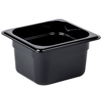 Cambro 64HP110 H-Pan™ 1/6 Size Black High Heat Plastic Food Pan - 4 inch Deep