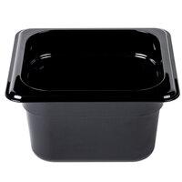 Cambro 64HP110 H-Pan 1/6 Size Black High Heat Food Pan - 4 inch Deep