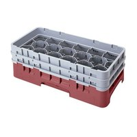 Cambro 17HS434416 Camrack 5 1/4 inch High Customizable Cranberry 17 Compartment Half Size Glass Rack