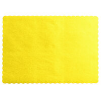 Choice 10 inch x 14 inch Yellow Colored Paper Placemat with Scalloped Edge   - 1000/Case