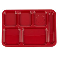 Carlisle 614R05 10 inch x 14 inch Red ABS Plastic Right Hand 6 Compartment Tray