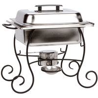Choice 4 Qt. Half Size Chafer Set with Black Wrought Iron Stand, Black Plastic Lid Handle, and Fuel