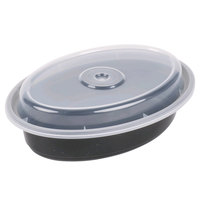Pactiv Newspring OC12B 12 oz. Black 6 3/4 inch x 4 3/4 inch x 1 1/2 inch VERSAtainer Oval Microwavable Container with Lid - 150/Case