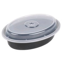 Newspring OC12B 12 oz. Black 6 3/4 inch x 4 3/4 inch x 1 1/2 inch VERSAtainer Oval Microwavable Container with Lid - 150/Case