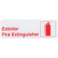 Tablecraft 394582 Extintor / Fire Extinguisher Sign - Red and White, 9 inch x 3 inch