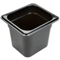 Carlisle 3068503 StorPlus 1/6 Size Black Polycarbonate Food Pan - 6 inch Deep