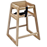 Koala Kare KB800-20 27 1/2 inch Assembled Stacking Restaurant High Chair with Natural Finish