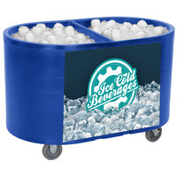 IRP Blue Texas Tanker 1060 Portable Insulated Ice Bin / Beverage Cooler / Merchandiser with Two Compartments 256 Qt.