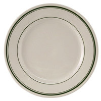 Tuxton TGB-005 Green Bay 5 1/2 inch Eggshell Wide Rim Rolled Edge China Plate with Green Bands - 36/Case