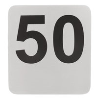 Tablecraft N150 1 to 50 Stainless Steel Double-Sided Table Number