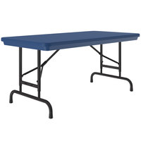 Correll Folding Table, 24 inch x 48 inch Plastic Adjustable Height, Blue - R-Series RA2448