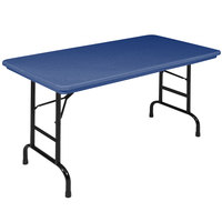 Correll R-Series RA2448 24 inch x 48 inch Blue Plastic Adjustable Height Folding Table