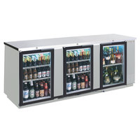 Beverage-Air BB72HC-1-GS-S-27 72 inch Stainless Steel Sliding Glass Door Back Bar Refrigerator with Stainless Steel Top - 115V