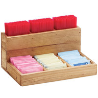 Cal-Mil 796-99 Madera 6 Compartment Reclaimed Wood Stir-Stick and Packet Organizer - 9 inch x 6 1/4 inch x 4 1/2 inch