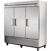 True T-72F 78 inch Three Section Solid Door Reach in Freezer - 72 cu. ft.