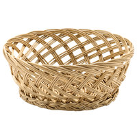 Tablecraft 1635 Natural Open Weave Round Willow Basket 9 inch x 3 1/2 inch