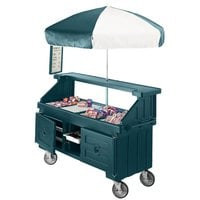 Cambro Camcruiser CVC72192 Granite Green Vending Cart with Umbrella and 3 Counter Wells