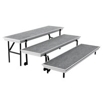 National Public Seating TPR72 Trans-Port 3-Level Gray Carpet Tapered Choral Riser - 18 inch x 72 inch x 24 inch
