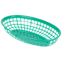 9 1/4 inch x 5 3/4 inch Green Plastic Oval Fast Food Basket - 12/Pack