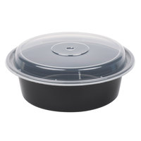 Newspring NC-729-B 32 oz. Black 7 inch VERSAtainer Round Microwavable Container with Lid   - 150/Case
