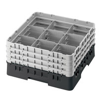 Cambro 9S1114110 Black Camrack Customizable 9 Compartment 11 3/4 inch Glass Rack