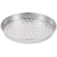 American Metalcraft PHA5009 9 inch x 2 inch Perforated Heavy Weight Aluminum Straight Sided Pizza Pan