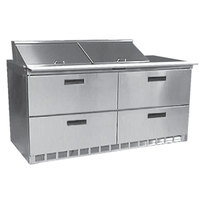 Delfield UCD4460N-12 60 inch 4 Drawer Reduced Height Refrigerated Sandwich Prep Table