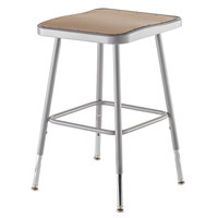 National Public Seating 6318H 19 inch - 27 inch Gray Adjustable Hardboard Square Lab Stool