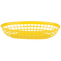 9 1/4 inch x 5 3/4 inch Yellow Plastic Oval Fast Food Basket - 12/Pack