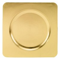 Tabletop Classics TRG-6660 12 1/4 inch Gold Square Acrylic Charger Plate