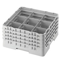 Cambro 9S318151 Soft Gray Camrack 9 Compartment 3 5/8 inch Glass Rack