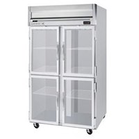 Beverage Air HFP2-1HG-LED 2 Section Glass Half Door Reach-In Freezer with LED Lighting - 49 cu. ft., SS Exterior