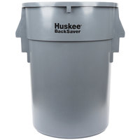 Continental 4410GY Huskee BackSaver 44 Gallon Ribbed Vented Trash Can