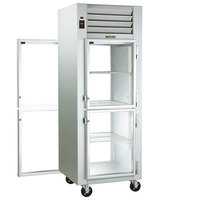 Traulsen G16002P 1 Section Half Solid Front, Half Glass Back Door Pass-Through Refrigerator - Right / Right Hinged Doors