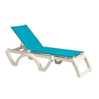 Grosfillex US673241 Turquoise Replacement Sling for Calypso Stacking Adjustable Resin Chaises in White - 12/Case