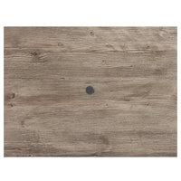Grosfillex 99851376 48 inch x 32 inch Aged Oak Rectangular Molded Melamine Tabletop with Umbrella Hole