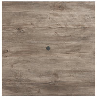 Grosfillex UT235742 32 inch x 32 inch Aged Oak Square Molded Melamine Tabletop with Umbrella Hole