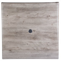 Grosfillex 99872076 36 inch x 36 inch Aged Oak Square Molded Melamine Tabletop with Umbrella Hole