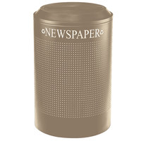 Rubbermaid FGDRR24PDP Silhouettes Desert Pearl Round Designer Recycling Receptacle - Paper 26 Gallon