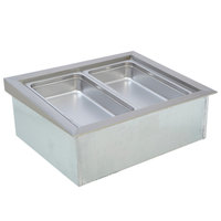 Wells ICP200SLST 46 inch Two Pan Drop In Slim Line Ice Cooled Cold Food Well with Slope Top