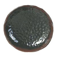 Thunder Group 1807TM Tenmoku Black 7 1/4 inch Lotus Shaped Melamine Plate - 12/Pack