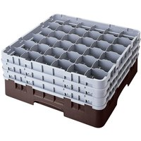 Cambro 36S318167 Brown Camrack Customizable 36 Compartment 3 5/8 inch Glass Rack